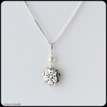 metal clay fine silver flower pendant