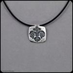 fine silver square fleur de lis pendant