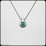 fine silver lentil pendant, amazonite