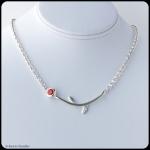 fine silver flower pendant, orange CZ