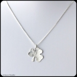 fine silver textured shamrock pendant