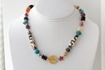 glass, carnelian, bone, 24K plated bead, turquoise