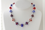 lampworked glass bead necklace, sterling silver beads and clasp