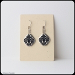 fine silver fleur de lis, sterling silver earrings