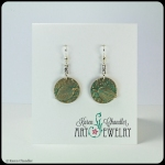 bronze layered leaf with teal patina, sterling silver earrings