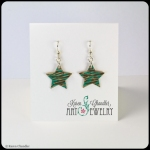 bronze stars, teal/brown patina, sterling silver earrings