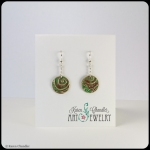 bronze circles, green/brown patina, sterling silver earrings