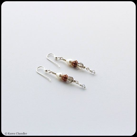Earrings with glass beads and pearls, copper plated pewter, Austrian crystal, sterling silver earwires