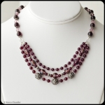 Handcrafted Almondine garnet, glass, Austrian crystal, handmade sterling silver, adjustable 3 strand necklace
