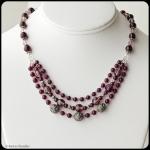 Handcrafted Almondine garnet, glass, Austrian crystal, handmade sterling silver, adjustable 3 strand necklace