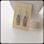 fine silver metal clay earrings, Austrian crystal, sterling silver ear wires