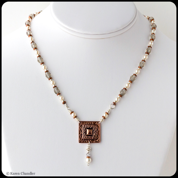 square copper metal clay pendant with glass beads and pearls